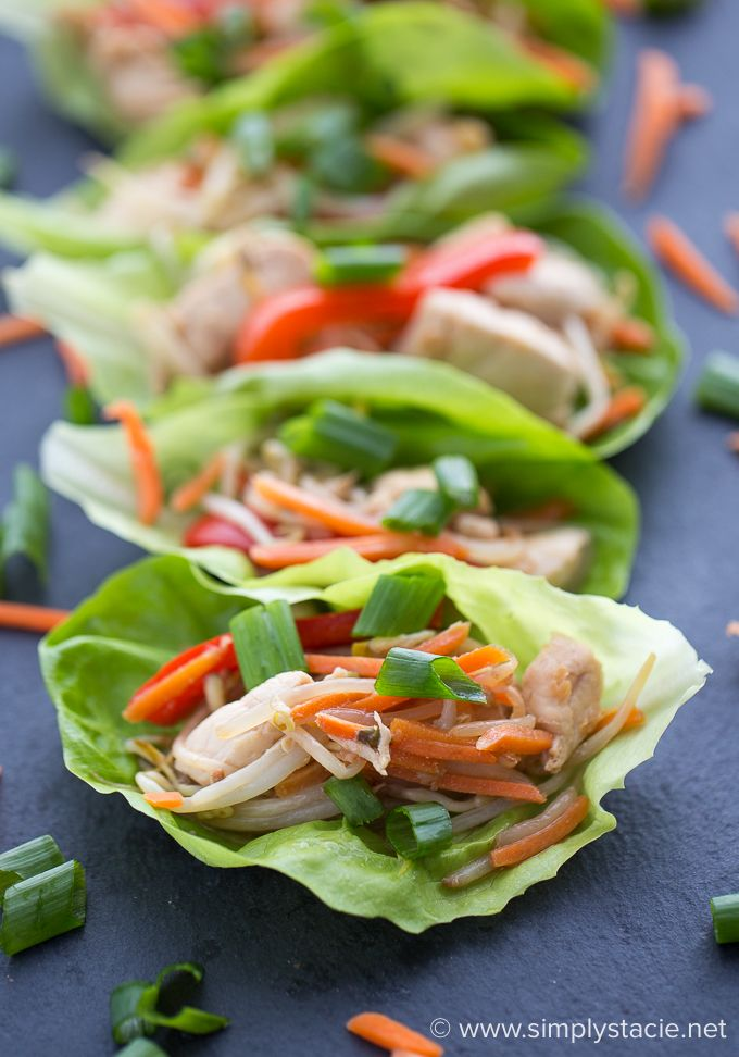 Asian Chicken Lettuce Wraps - Simple, yummy and guilt-free! This heart healthy lettuce wrap is loaded with chicken breasts, fresh veggies and a tangy Asian sauce.
