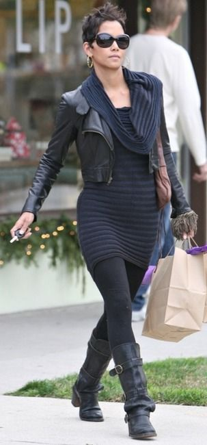 Halle Berry in Fiorentini + Baker boots - need a knock off of this boot for fall/winter!