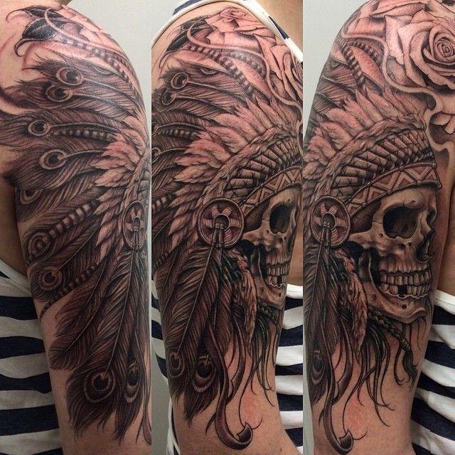 "lowridertattoolondon's photo: "" Big Skull & headdress by ken carlos  Lowrider Tattoo London 311 Bethnal Green Road E2 6AH 02077395115"