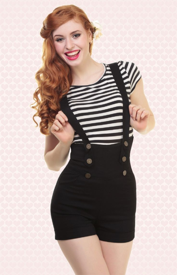 Wether you're a rockabilly lover, a pinup girl or a vintage vixen, this 50s Franky Shorts Black by Collectif are a summer musthave! Feminine high waist style with cute bronze buttons and adjustable braces; they can be worn normal, crossed at the back or completely taken off. Made from a firm cotton blend with a light stretch in classy black. Finished off with side pockets and hidden side zipper. Team with our tops!