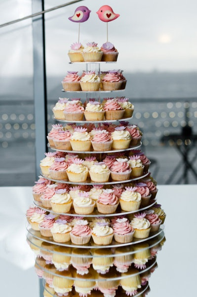 Pink and white cupcake tower