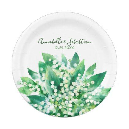 Lily Of The Valley Floral Spring Wedding Paper Plate - spring wedding diy marriage customize personalize couple idea individuel