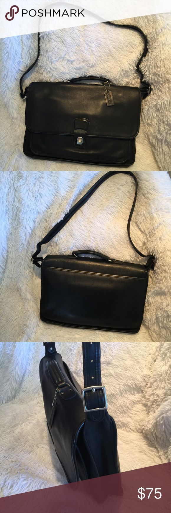 """Vintage Coach Briefcase Pre-loved in great condition/ Soft Leather Briefcase / 16""""Hx12""""LX3""""W / 15-21"""" Shoulder Drop Coach Bags"""