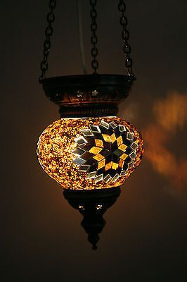 Mirrored Yellow & Brown Mosaic Ottoman Lantern