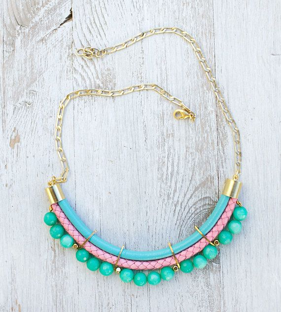 PrettyLover Statement Pastel colors Agate Necklace by by pardes, $88.00