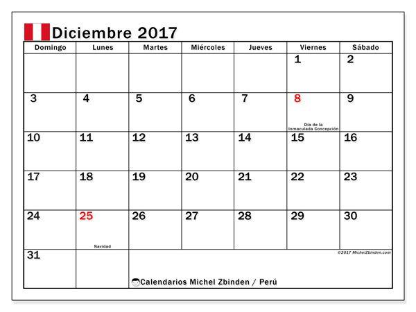 Calendario para imprimir diciembre 2017 - Días feriados en Perú