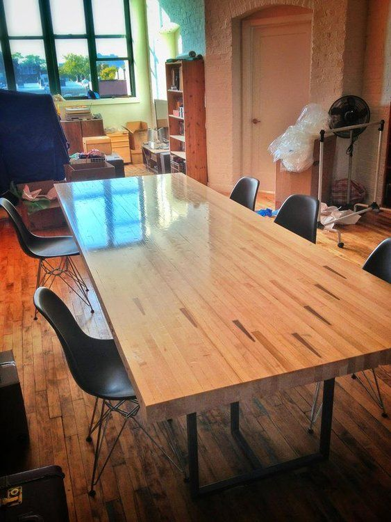Reclaimed Bowling Alley Lane Wood Table Counter In