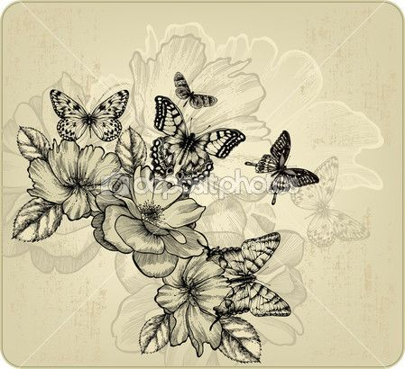 Vintage floral background with roses and butterflies. Vector ill