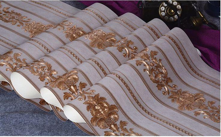Резные Тиснением Дамаск украшения papel де parede 3D обои для стен 3d обои цветок обои для гостиной купить на AliExpress