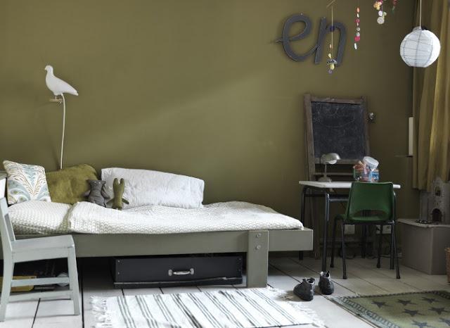 Olivegreen childrensroom short term bucket list for Khaki green walls