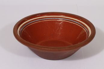 Traditional red clay bowl for viili, porridge etc Grankullan saviteollisuus, Finland malli/model 48-58