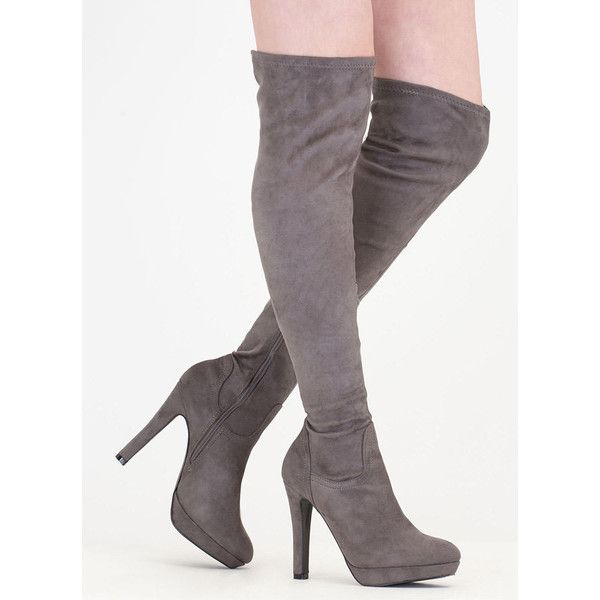 Haute Spot Thigh-High Platform Boots ($42) ❤ liked on Polyvore featuring shoes, boots, grey, over-the-knee boots, grey thigh high boots, over the knee high heel boots, over-knee boots, over the knee thigh high boots and over the knee boots