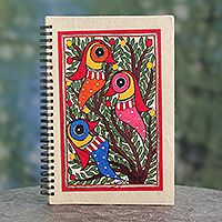 Novica Silk notebook sleeve, Madhubani Fish