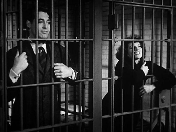 Cary Grant and Katharine Hepburn in Bringing Up Baby (1938).