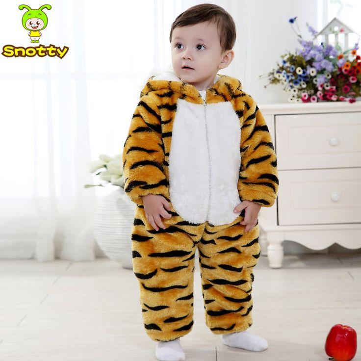 Зимняя Мода Тигр Ребенка Комбинезон Золотой Тигр Малыш Шаблон Комбинезон Для 7-24 Месяцев Малыш Зимняя Одежда KJ-15016