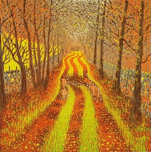 Autumn Lane by Mark A Pearce   Reduction woodcut print. Limited edition of 36