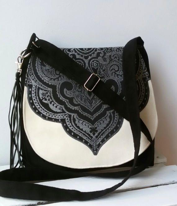 Black oriental bag Evening bag Sling crossbody bag Boho chic bag Medium size messengerbag Hippie bag Vegan crossbody bag Oriental fabric