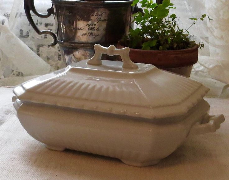 Antique Wedgwood Ironstone Tureen, England Serving Dish Tableware, White Iron Stone Dinnerware, Sauces, Side Dishes, Farmhouse Holiday Decor by MyVintageVTCottage on Etsy https://www.etsy.com/listing/479685865/antique-wedgwood-ironstone-tureen