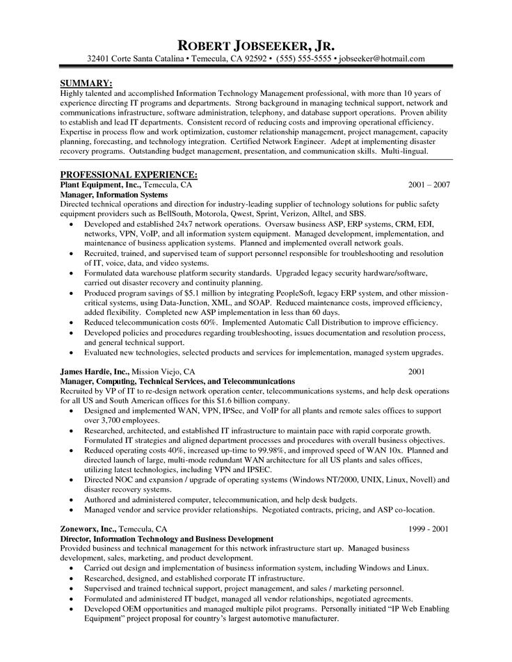 Network Manager Resume Sample