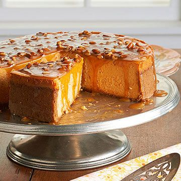 Sweet Potato Cheesecake: Crust: 1-1/4 cups graham cracker crumbs; 1/4 cup sugar; 1/4 cup unsalted butter. Filling: 24 ounces cream cheese; 14 ounces sweetened condensed milk; 2 cups mashed cooked sweet potatoes; 3 eggs; 1/4 cup maple syrup; 1-1/2 teaspoons cinnamon; 1 teaspoon nutmeg; 1/2 teaspoon salt. Topping: 3/4 cup maple syrup; 1 cup whipping cream; 1/2 cup chopped pecans.
