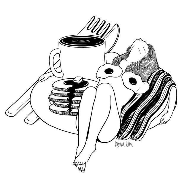 Henn Kimé uma ilustradora que cria imagens conceituais, minimalistas e repletas de significado, que envolvem ácidas críticas à sociedade contemporânea.