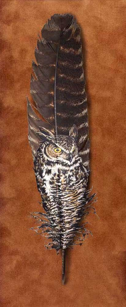 Owls Painted on Feathers