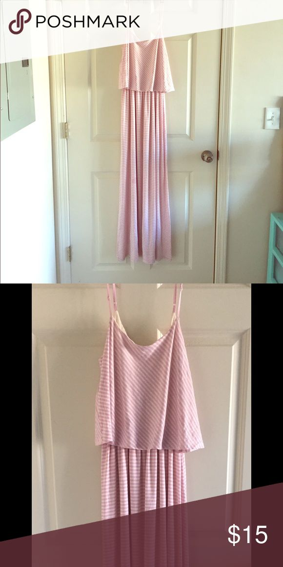 maxi dress Light pink and cream striped maxi dress. Worn only once! Like new condition and it's really cute! It's just too big for me. Sage Dresses Maxi