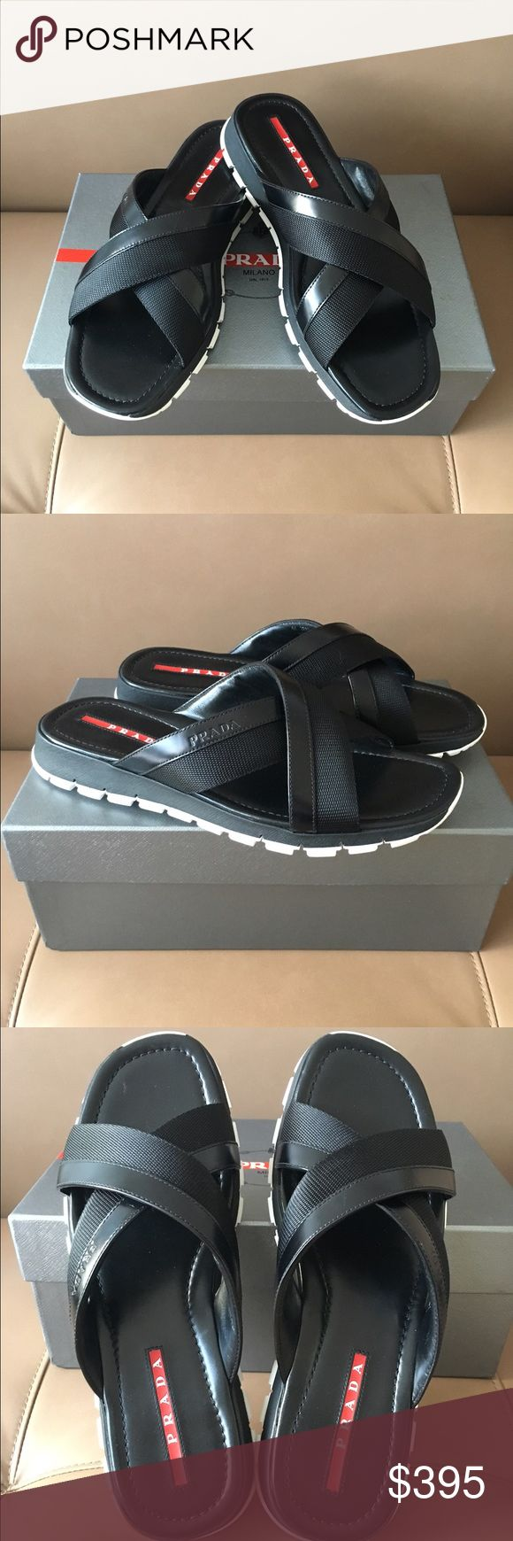 Prada Black Leather Sandals in size 11 UK--12 US Nib , 100% authentic Prada black leather & canvas sandals on size 11 UK --12 US . Assuming they are true to size . No issues . Retail -$595 plus tax . Sorry , no trading -:(. Thanks ! Prada Shoes Sandals & Flip-Flops