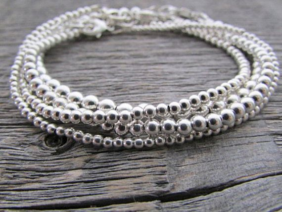 Sterling Silver Bead Bracelet Bride Bracelet 925 by earthwatersol