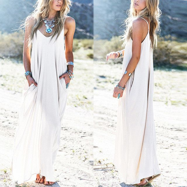 Maxi Dresses 3 Colors Summer Sexy Beach Sundress