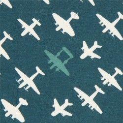 teal with light cream airplane transport birch knit organic fabric USA