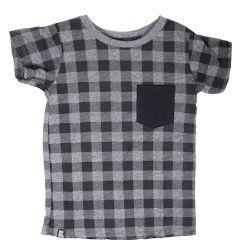 Mini & Maximus Lumberjack Plaid Pocket Tee in Heather Grey