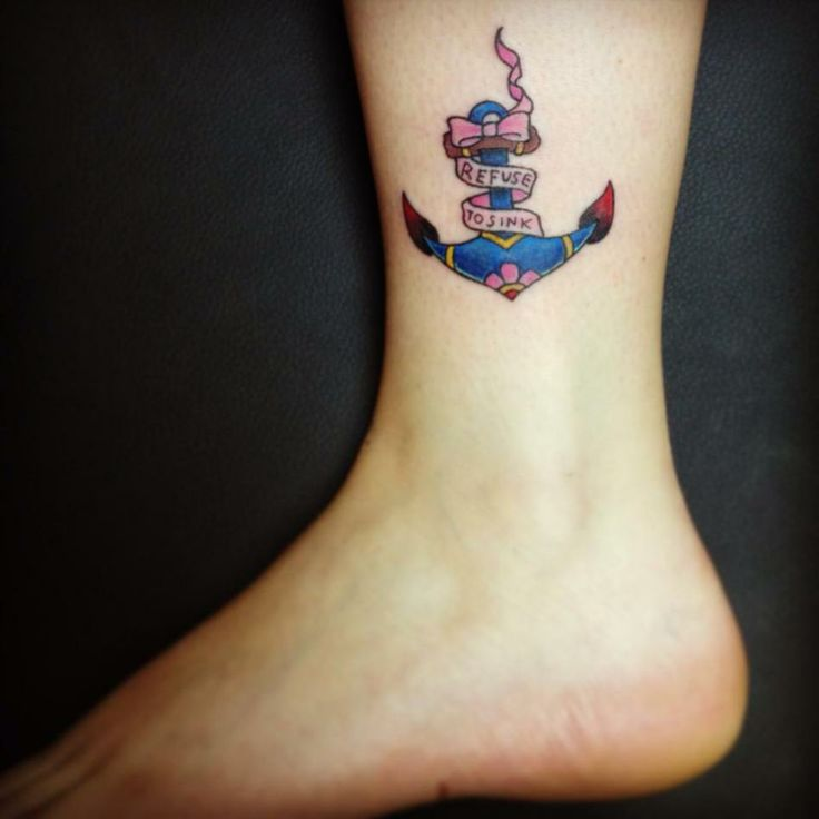 I Refuse To Sink Anchor Tattoo On Ankle - http://tattoosaddict.com/i-refuse-to-sink-anchor-tattoo-on-ankle.html #anchor, anchor tattoos, ankle, i, on, refuse, sink, snk, tattoo, to