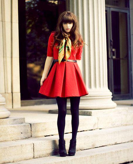 Hair color & style: chestnut, blunt bangs  La Dame en Rouge (by Rachel-Marie Jones) http://lookbook.nu/look/2319451-La-Dame-en-Rouge
