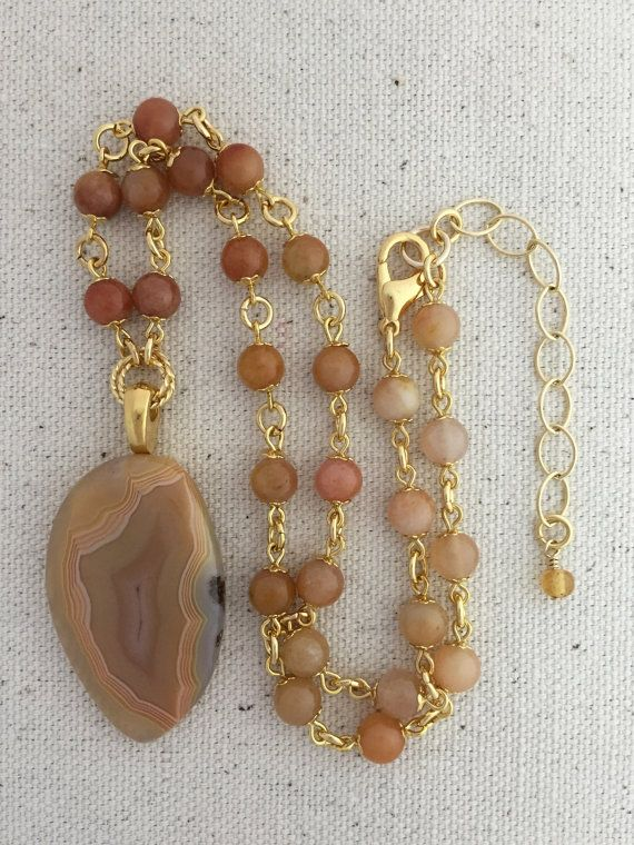 Laguna Agate Pendant Necklace on Beaded Strand of by Rock2Gems