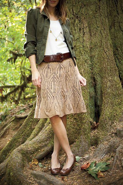 Ravelry: Leaves Skirt pattern by Jenise Reid.  I've never knitted a skirt…