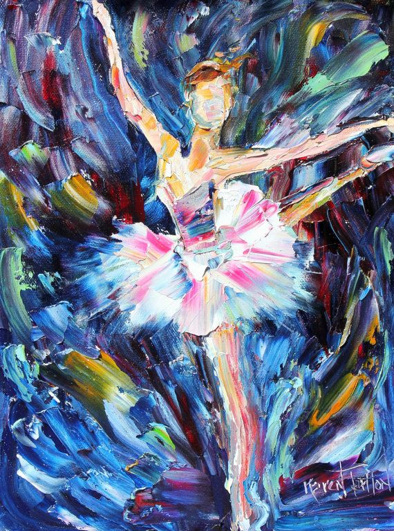 Original Ballerina Dancer PALETTE KNIFE oil painting Abstract fine art modern impressionism by Karen Tarlton