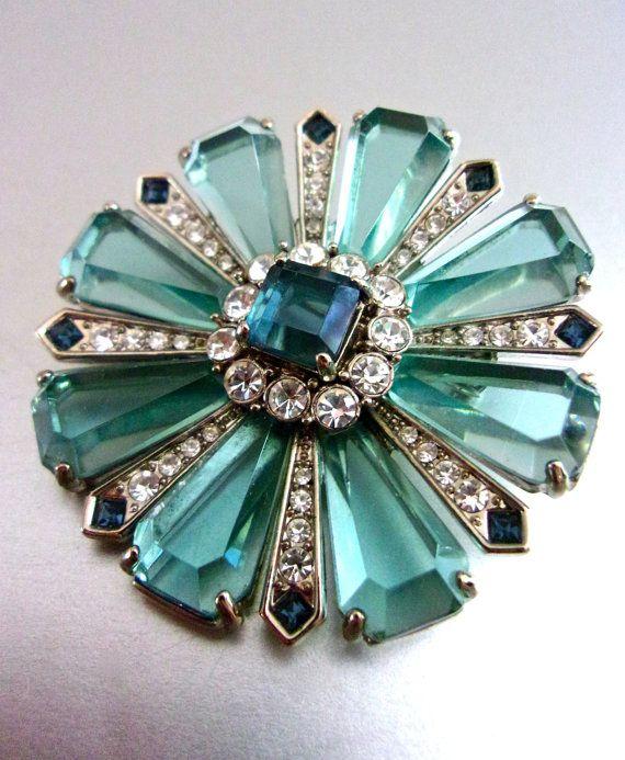 Aqua Blue Glass Flower CAROLEE Brooch Clear & by RenaissanceFair