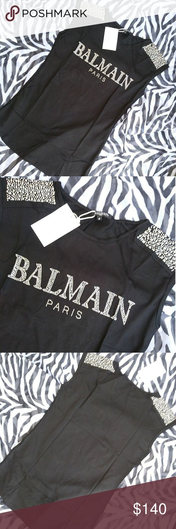 Balmain Iridescent Rhinestone Shirt Brand New with Tags Womens Balmain Studded Rhinestone Top Balmain Tops Tank Tops