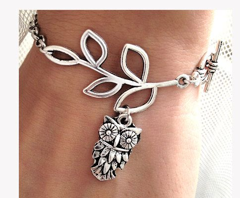 Silver Leaf branch With OWL Charm bracelet Chain by pier7craft, $8.50