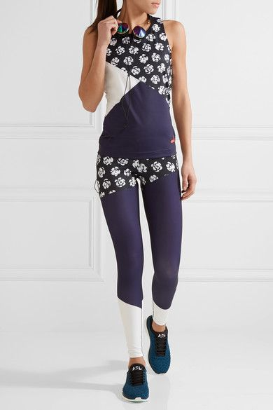Adidas by Stella McCartney - Paneled Printed Climalite Stretch Leggings - Midnight blue -