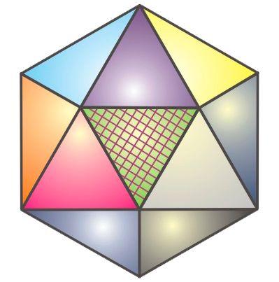 Икосаэдр - правильный многогранник (платоново тело). Имеет двадцать граней, 12 вершин, 30 ребер. Грань икосаэдра - правильный треугольник. Каждая вершина икосаэдра является вершиной пяти правильных треугольников. Икосаэдр имеет центр симметрии и 15 осей симметрии.