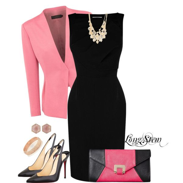 """Pink & Black"" by longstem on Polyvore"
