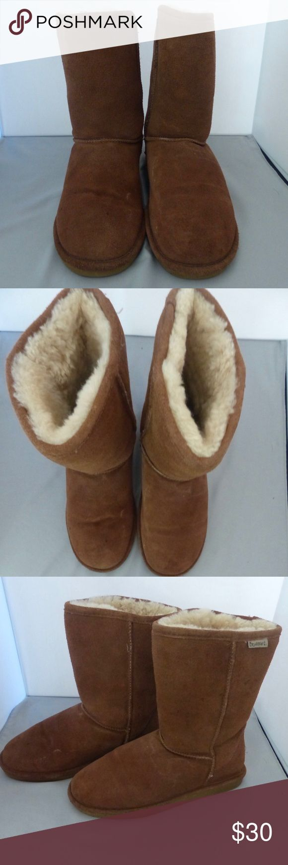 Bear Claw Emma Short Winter Boot Size 8 Bear Paw Emma Short Boot.  Brown Suede upper with seam-stitching detail Sheepskin lining, cushioning insole 8 inch shaft, 15 inch circumference Rubber traction outsole BearPaw Shoes Winter & Rain Boots