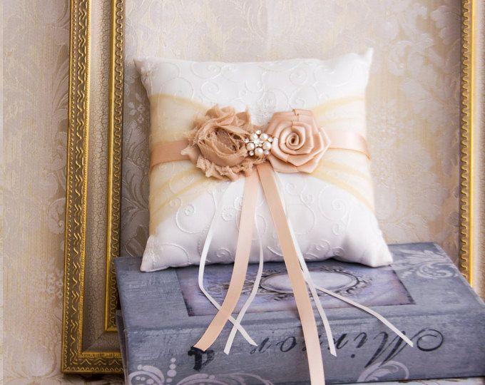 Rosa oro anillo portador almohada, Blush almohada de anillo boda, anillo de boda portador almohada, boda de oro rosa
