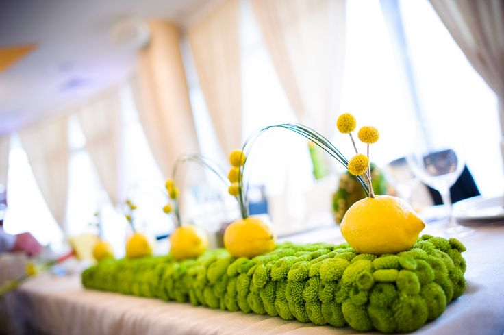 Bride and groom table arrangement with santini and craspedia by NO NO NO