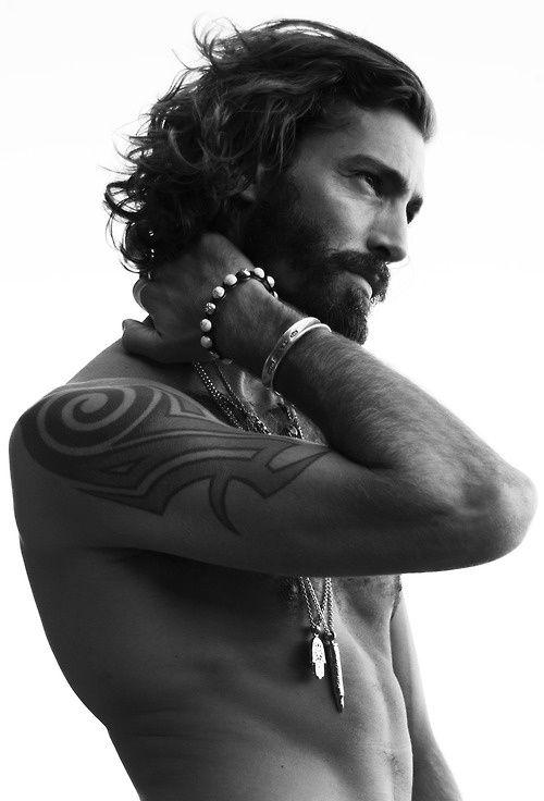 Men's Look Tip: Long hair + beard + tats + wrist wear + Neck wear = OH SHIT !!  === Follow us on Pinterest for Style Tips, Men's Essentials, updates on our SALES etc... ~ VujuWear
