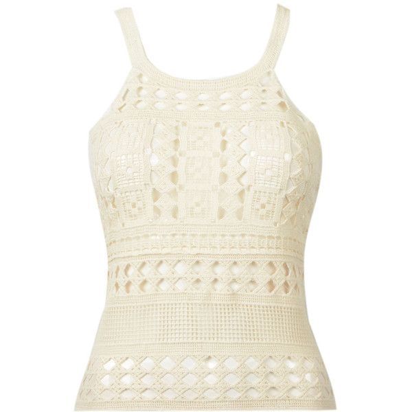 Choies Beige Crochet Cut Out Cami Top (42 RON) ❤ liked on Polyvore featuring tops, shirts, tank tops, tanks, beige, cami tank tops, crochet tank top, white shirt, white camisole and white crochet shirt