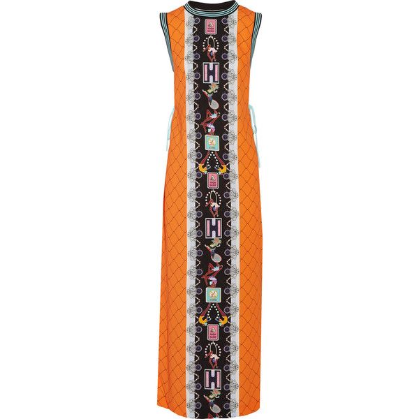 Adidas Originals - + Mary Katrantzou Lace-paneled Printed Crepe Maxi... ($109) ❤ liked on Polyvore featuring dresses, orange, crepe dress, orange maxi dress, sports dress, orange dress and multi colored dress