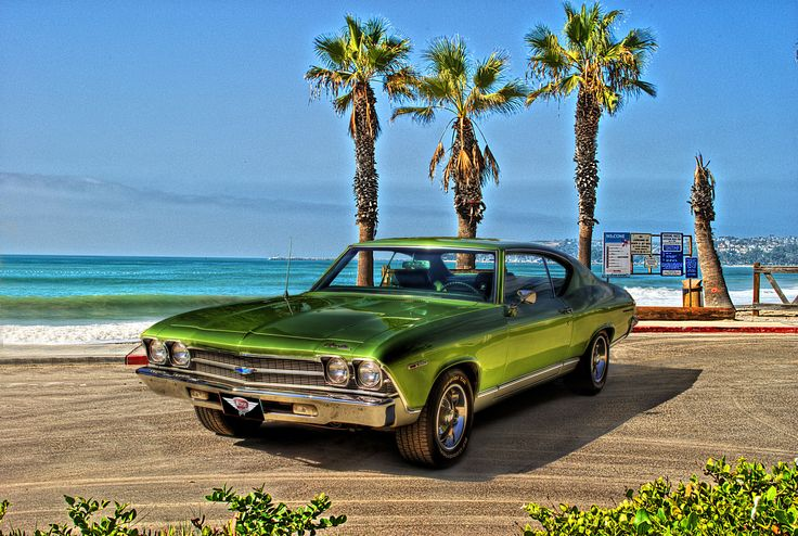 """1969 Chevrolet Chevelle favored 60s """"Muscle Car"""" on beach with palm trees behind"""